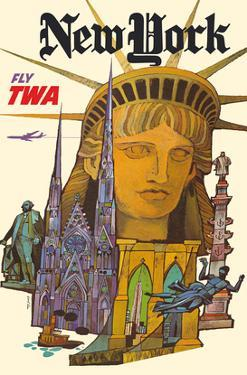 New York - Fly TWA (Trans World Airlines) - Statue of Liberty by David Klein
