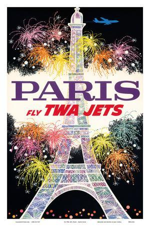 Paris, France - Fly TWA Jets - Trans World Airlines - Fireworks at Eiffel Tower
