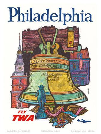 Philadelphia - Fly TWA (Trans World Airlines) - Liberty Bell at Independence Hall by David Klein