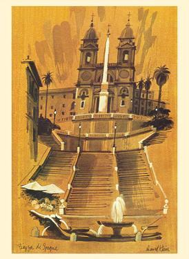 Piazza di Spagna - Rome Italy - Spanish Steps - TWA (Trans World Airlines) by David Klein