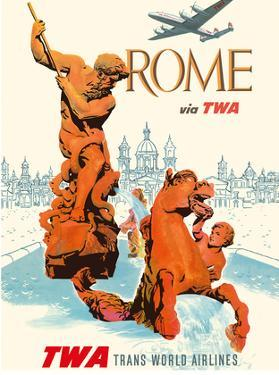 Rome Italy - via TWA (Trans World Airlines) - Fountain of Neptune by David Klein