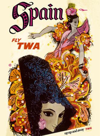 Spain - Flamenco Dancer - Fly TWA (Trans World Airlines) by David Klein