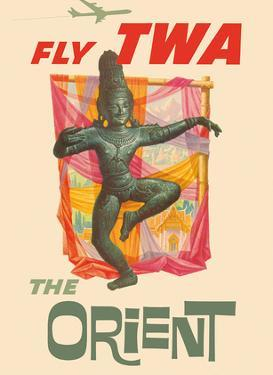 The Orient - Fly TWA (Trans World Airlines) - Bronze-era Siam Thai Dancer by David Klein