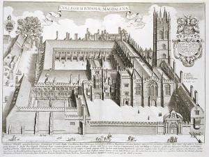 """Magdalen College, Oxford, from """"Oxonia Illustrata,"""" Published 1675 by David Loggan"""