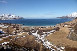 Beach at Grotfjord, Kvaloya (Whale Island), Troms, Norway, Scandinavia, Europe by David Lomax
