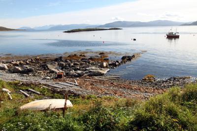 Boat and Slip at Helgoy, Troms, North Norway, Norway, Scandinavia, Europe by David Lomax
