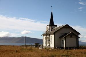 Church at Uninhabited Island of Helgoy, Troms, North Norway, Norway, Scandinavia, Europe by David Lomax