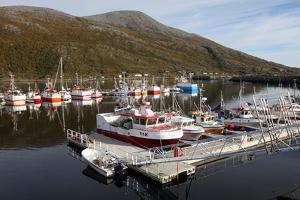Fishing Boats on a Pontoon, Torsvaag, N Norway by David Lomax