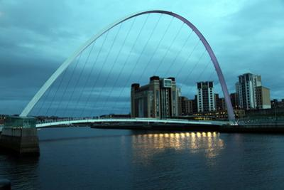 Gateshead Bridge over the River Tyne, Newcastle, Tyne and Wear, England, United Kingdom, Europe by David Lomax