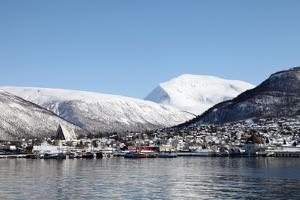 Tromsdalen and the Cathedral of the Arctic Opposite Tromso, Troms, Norway, Scandinavia, Europe by David Lomax