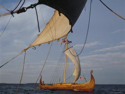 View from Gaia of Replica Viking Ship Oseberg, Chesapeake Bay, USA