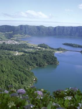 View Over Crater Lake, Sete Citades, San Miguel, Azores Islands, Portugal, Atlantic by David Lomax