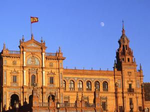 Moon Over Decorative Building, Seville, Spain by David Marshall
