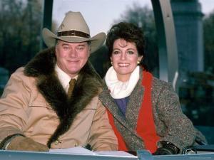 Actors Larry Hagman and Linda Gray by David Mcgough