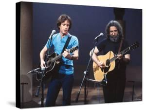 Musicians Bob Weir and Jerry Garcia of Rock Group Grateful Dead Performing by David Mcgough
