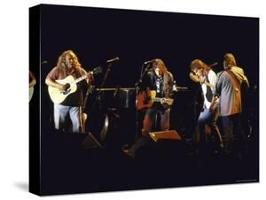 Musicians David Crosby, Neil Young, Graham Nash and Stephen Stills of Group Crosby Performing by David Mcgough