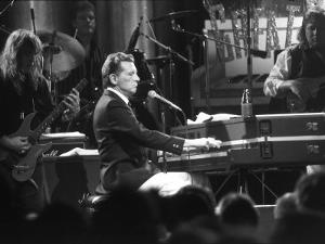 """Singer Jerry Lee Lewis Performing at Party for Film """"Great Balls of Fire,"""" Based on His Life Story by David Mcgough"""