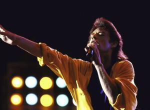 Singer Mick Jagger of the Rock Band the Rolling Stones Performing at Live Aid Concert by David Mcgough