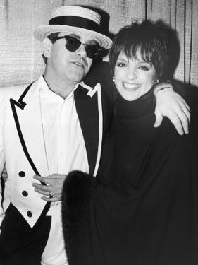 Singers Elton John and Liza Minnelli Backstage at Madison Square Garden before Elton's Performance by David Mcgough