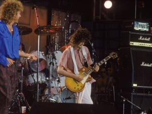 Subject: Jimmy Page and Robert Plant Formerly of Led Zeppelin Performing at Live Aid by David Mcgough