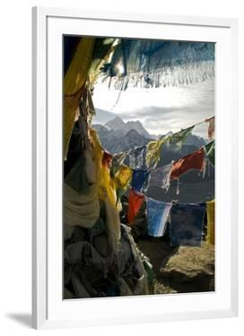 Prayer Flags on Summit of Gokyo Ri, Everest Region, Mt Everest, Nepal by David Noyes