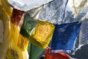 Prayer Flags on the Summit of Gokyo Ri, Gokyo, Nepal by David Noyes