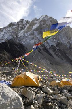 Tents of Mountaineers Along Khumbu Glacier, Mt Everest, Nepal by David Noyes