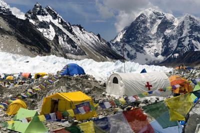 Tents of Mountaineers Scattered Along Khumbu Glacier, Base Camp, Mt Everest, Nepal by David Noyes
