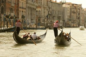 Tourist Ride in Gondolas on the Grand Canal in Venice, Italy by David Noyes