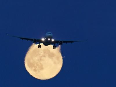 Airbus 330 Passing In Front of the Moon