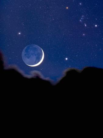 Crescent Moon with Earthshine and the Constellation Orion