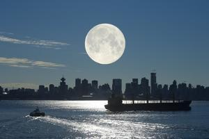 Full Moon Over Vancouver by David Nunuk