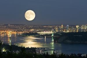 Full Moon Over Vancouver by David Nunuk