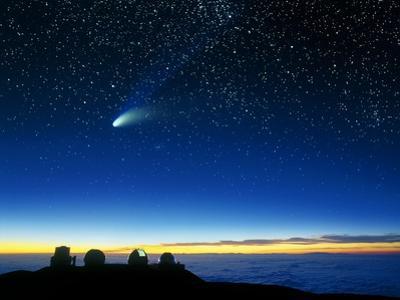 Hale-Bopp Comet And Telescope Domes