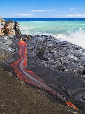 Lava Flowing Into Ocean, Hawaii by David Nunuk