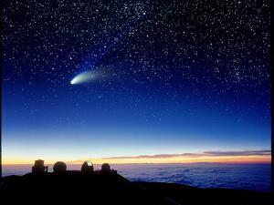 Mauna Kea Observatory & Comet Hale-Bopp by David Nunuk