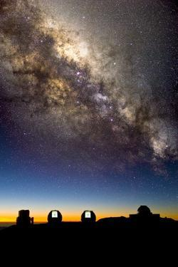 Mauna Kea Telescopes And Milky Way by David Nunuk