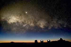 Milky Way And Observatories, Hawaii by David Nunuk