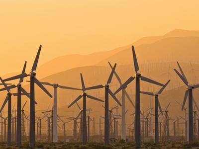 Wind Farm at Sunset on Hazy Day, Palm Springs, California, USA
