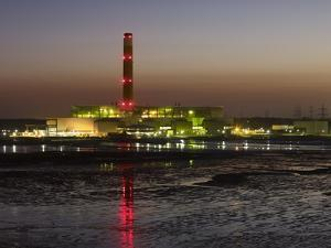 Fawley Oil Fired Power Station At Dusk by David Parker