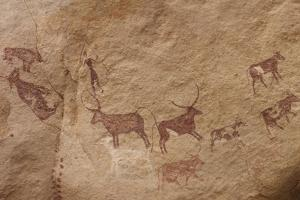 Pictograph of Lion Attack, Libya by David Parker