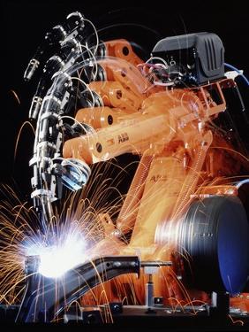 Robot Arm Spot-welding a Car Suspension Unit by David Parker