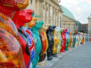 Hand-Painted Buddy Bears from Around the World Circle Bebelplatz by David Peevers