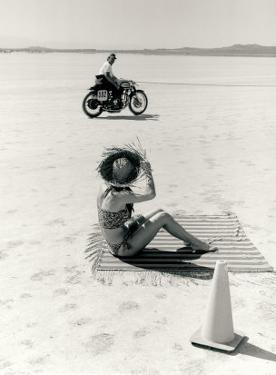 Salt Flat Motorcycle Pin up Poster by David Perry