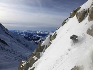 A Snowboarder Tackles a Challenging Off Piste Descent on Mont Blanc, Chamonix, Haute Savoie, French by David Pickford