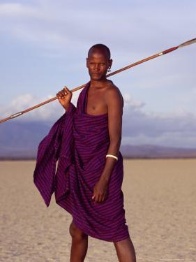 Barabaig Warrior Pastoralist with Spear, Wearing Tradional Earweight by David Pluth