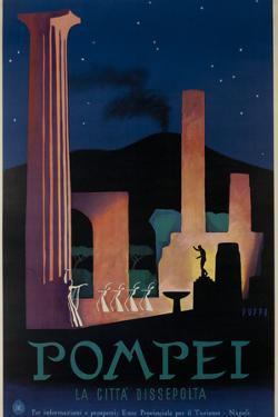1952 Pompeii Italy Travel Poster by David Pollack