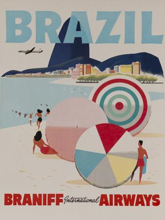 Braniff Airways Travel Poster, Brazil by David Pollack