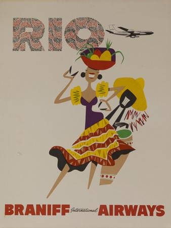 Braniff Airways Travel Poster, Rio De Janiero, Dancer by David Pollack