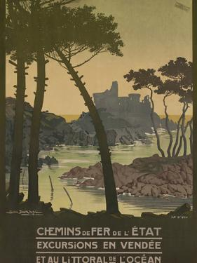 Chemins De Fer, French Travel Poster, Coastal Trips by David Pollack